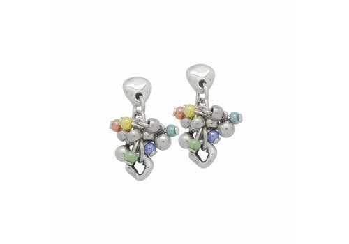 CICLON OHRRINGE METALL SILBER MURANO KRISTALLE MULTICOLOR, COLLECTION PARADISE, REF. 181616-99