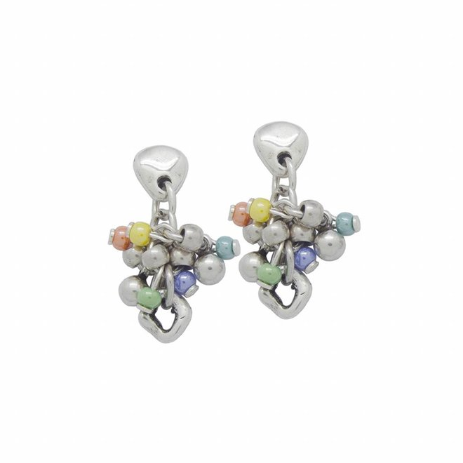 EARRINGS METAL SILVER MURANO CRYSTALS MULTICOLOR, COLLECTION PARADISE, REF. 181616-99