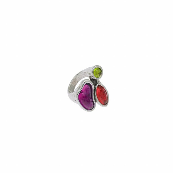 RING METAL SILVER PLATED & MURANO CRYSTALS, REF. 171505