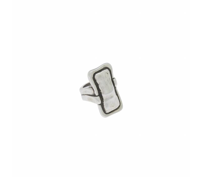 RING METAL RECTANGULAR SILVER PLATED, REF. 172505-00-1