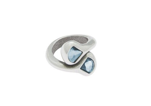 CICLON RING SILBER & SWAROVSKI KRISTALLE HELLBLAU, EMOTION COLLECTION, REF. SWR502-36-1