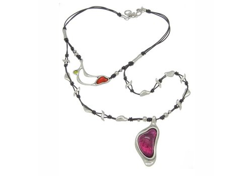 Ciclon NECKLACE LEATHER, METAL & MURANO CRYSTALS, COLLECTION INFINITE, REF. 171810-09