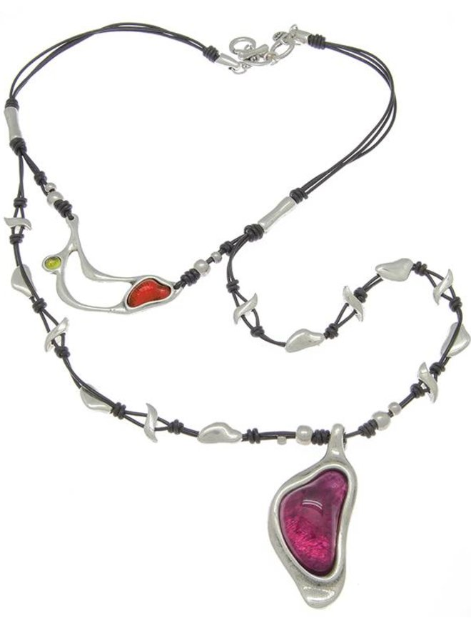 COLLIER LEDER, METALL & MURANO-KRISTALLE, COLLECTION INFINITE, REF. 171810-09