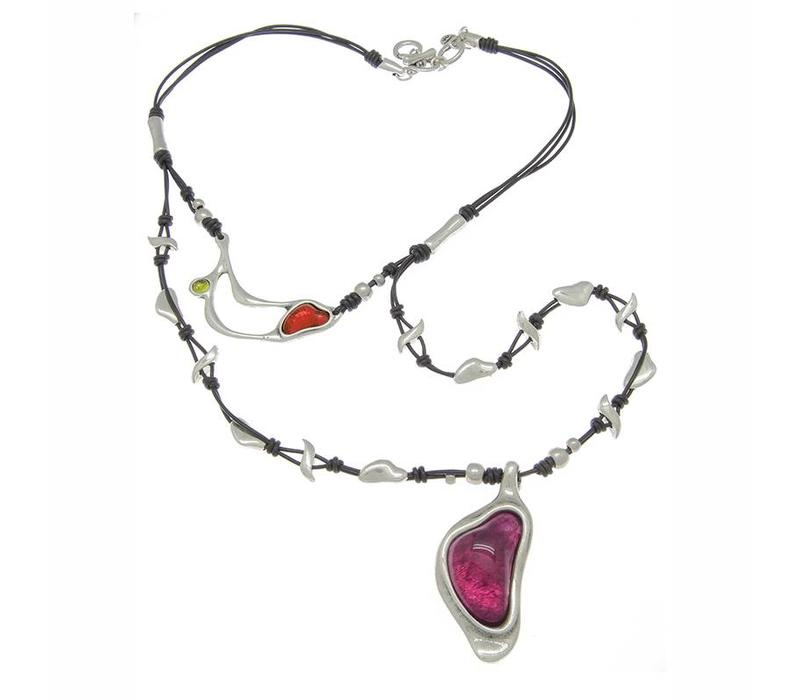NECKLACE LEATHER, METAL & MURANO CRYSTALS, COLLECTION INFINITE, REF. 171810-09