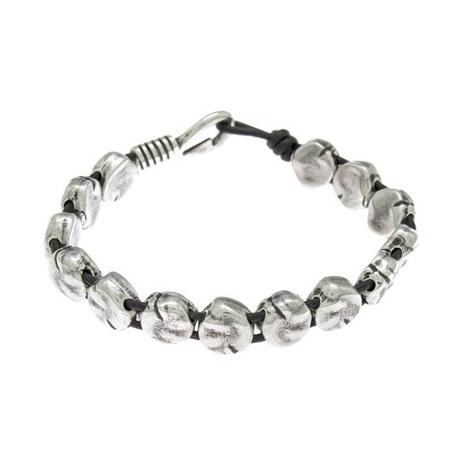 BRACELET LEATHER & METAL SILVER PLATED, REF. 172144-00-1
