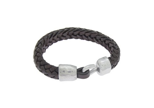 Ciclon BRACELET LEATHER & METAL SILVER PLATED, REF. 172146-00-1