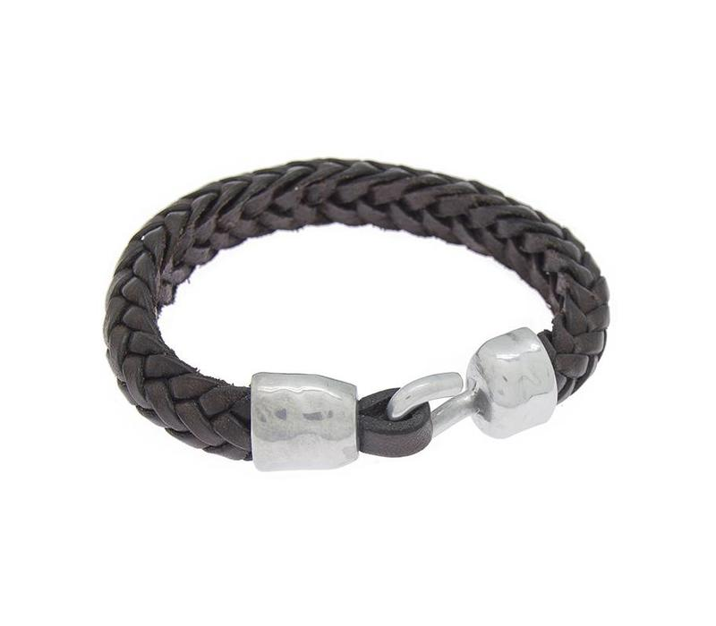 BRACELET LEATHER & METAL SILVER PLATED, REF. 172146-00-1