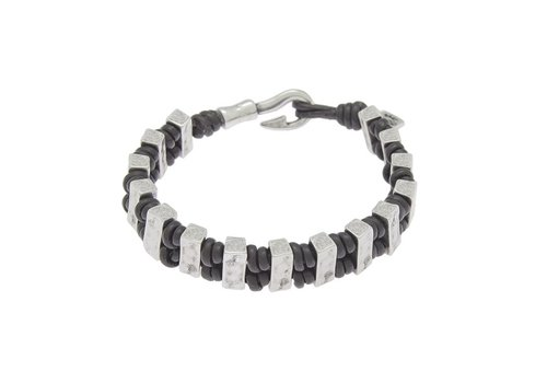 Ciclon BRACELET LEATHER & METAL SILVER PLATED, REF. 172147-00-1