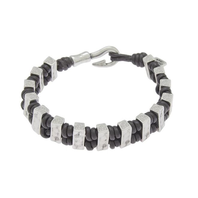 BRACELET LEATHER & METAL SILVER PLATED, REF. 172147-00-1
