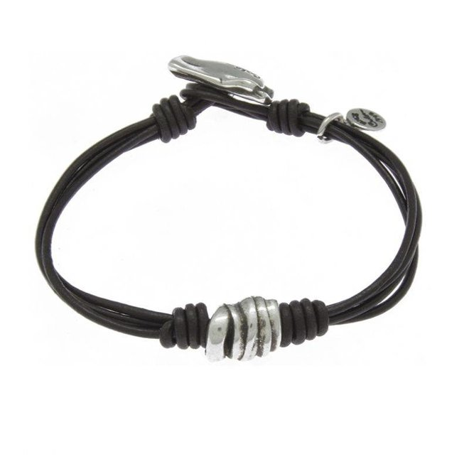 BRACELET LEATHER & METAL SILVER PLATED, REF. 181144-01-1