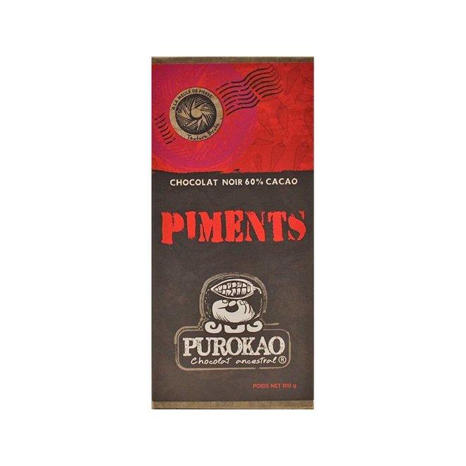 CHOCOLATE NEGRO 60% CON AJI - MEXICO - 100 G