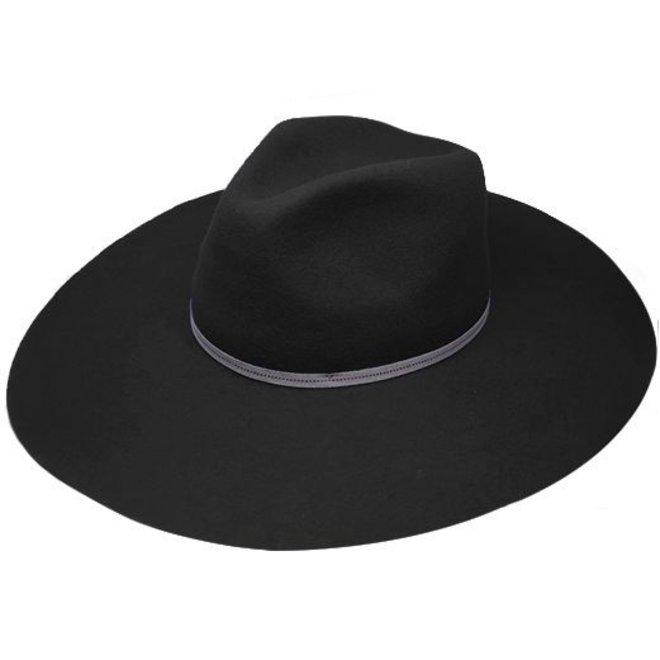 """FLOPPY HAT """"MONACO"""" WOOL FELT FROM ECUADOR - BLACK"""