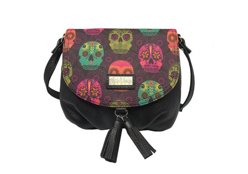 "Pineda Covalin LEATHER SHOULDER BAG ""MEXICAN MASKS"" FROM MEXICO"