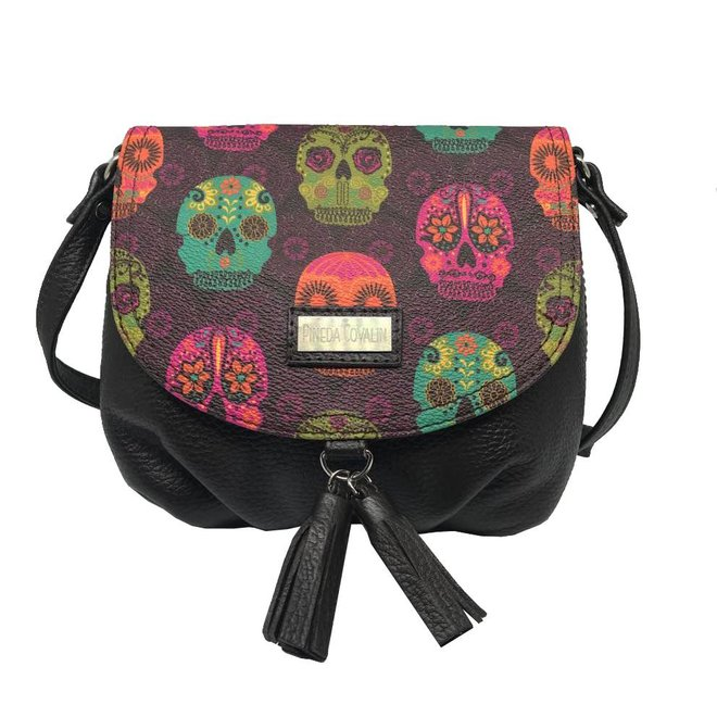 "LEATHER SHOULDER BAG ""MEXICAN MASKS"" FROM MEXICO"