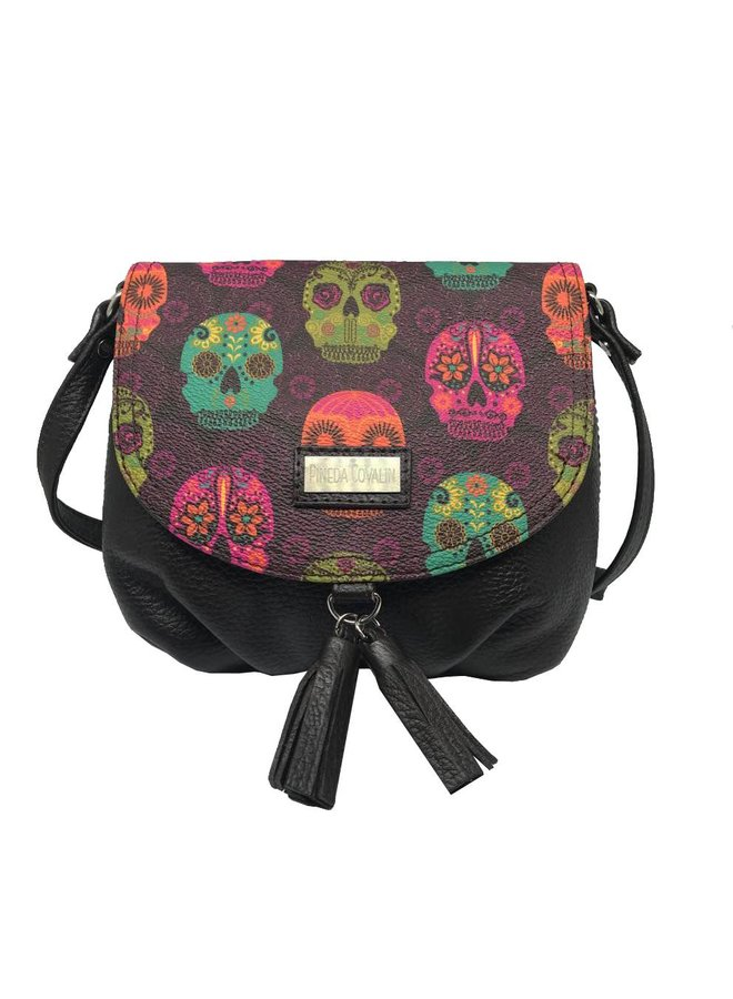 """LEATHER SHOULDER BAG """"MEXICAN MASKS"""" FROM MEXICO"""