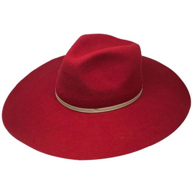 """FLOPPY HAT """"MONACO"""" WOOL FELT FROM ECUADOR - RED"""