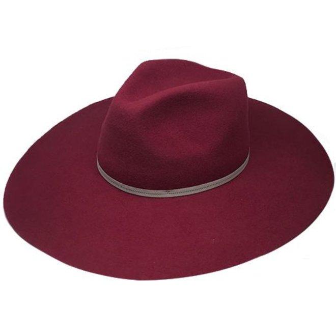 """FLOPPY HAT """"MONACO"""" WOOL FELT FROM ECUADOR - BURGUNDY"""