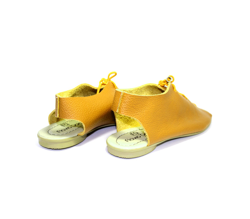 "SANDALS ""SEA"" SOFT LEATHER - MUSTARD - BRASIL"