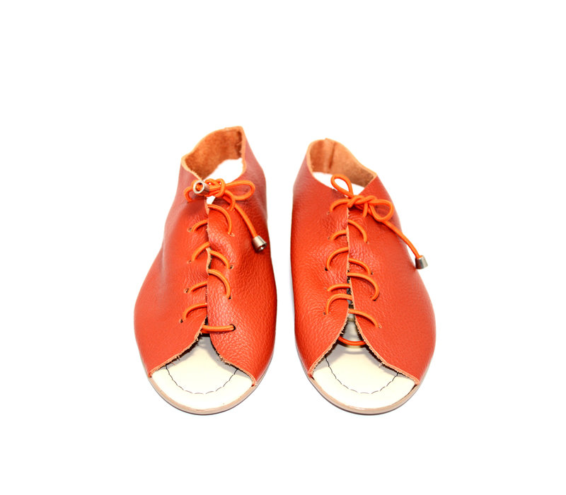 "SANDALS ""SEA"" SOFT LEATHER- ORANGE - BRASIL - VOLARE NEW COLLECTION"
