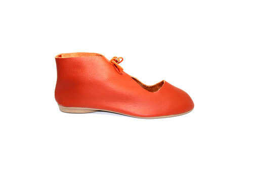 "FLAVIO DOLCE SHOES ""NORA"" SOFT LEATHER - ORANGE  - BRASIL"