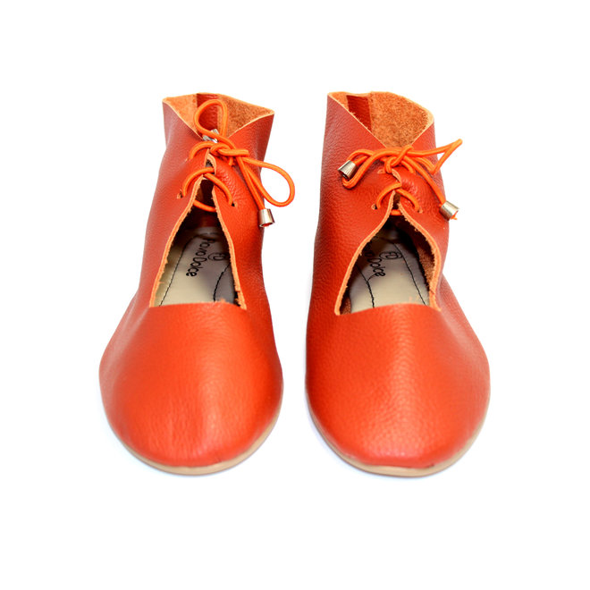 """SHOES """"NORA"""" SOFT LEATHER - ORANGE  - BRASIL - VOLARE NEW COLLECTION"""