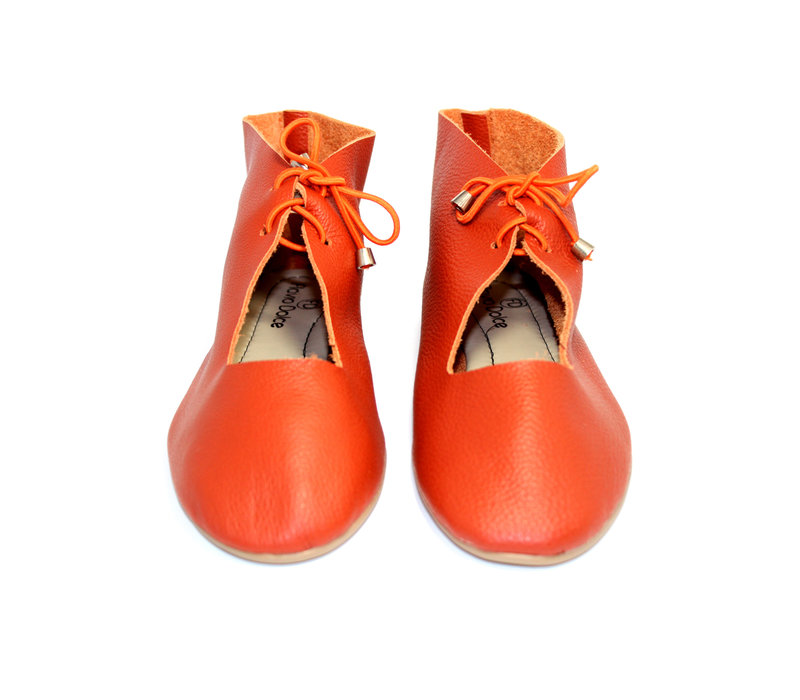 "SHOES ""NORA"" SOFT LEATHER - ORANGE  - BRASIL"