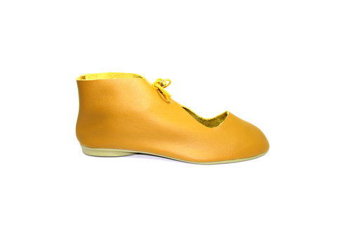 "FLAVIO DOLCE SHOES ""NORA"" SOFT LEATHER - MUSTARD - BRASIL"