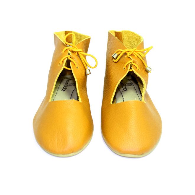 """SHOES """"NORA"""" SOFT LEATHER - MUSTARD -  - BRASIL - VOLARE NEW COLLECTION"""