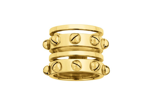 INA BEISSNER RING CONSUELO SILVER GOLD PLATED 24kt