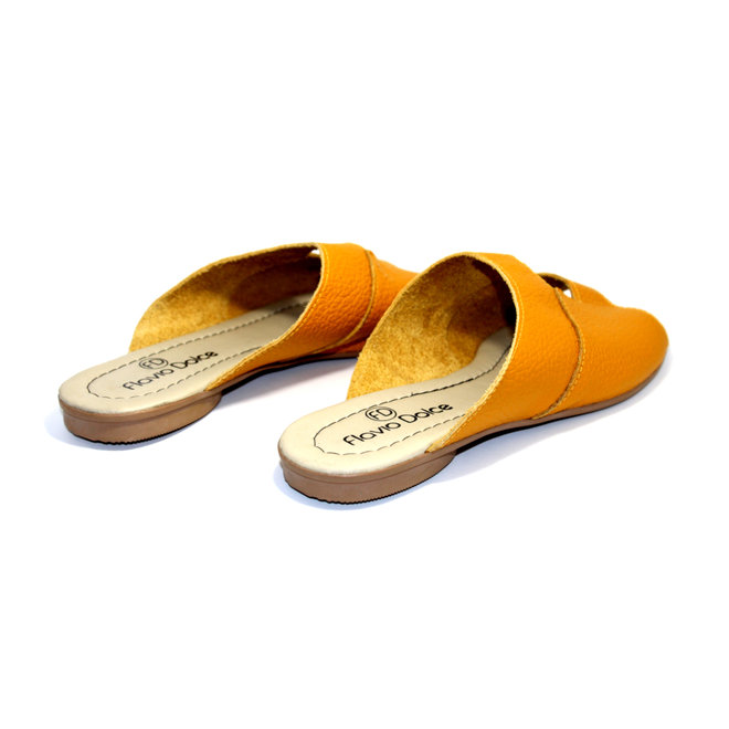 "SANDALS ""STELLA"" SOFT LEATHER - MUSTARD - BRASIL - VOLARE NEW COLLECTION"