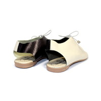 "SANDALS ""SEA"" SOFT LEATHER  - SAND/BLACK- BRASIL - VOLARE NEW COLLECTION"