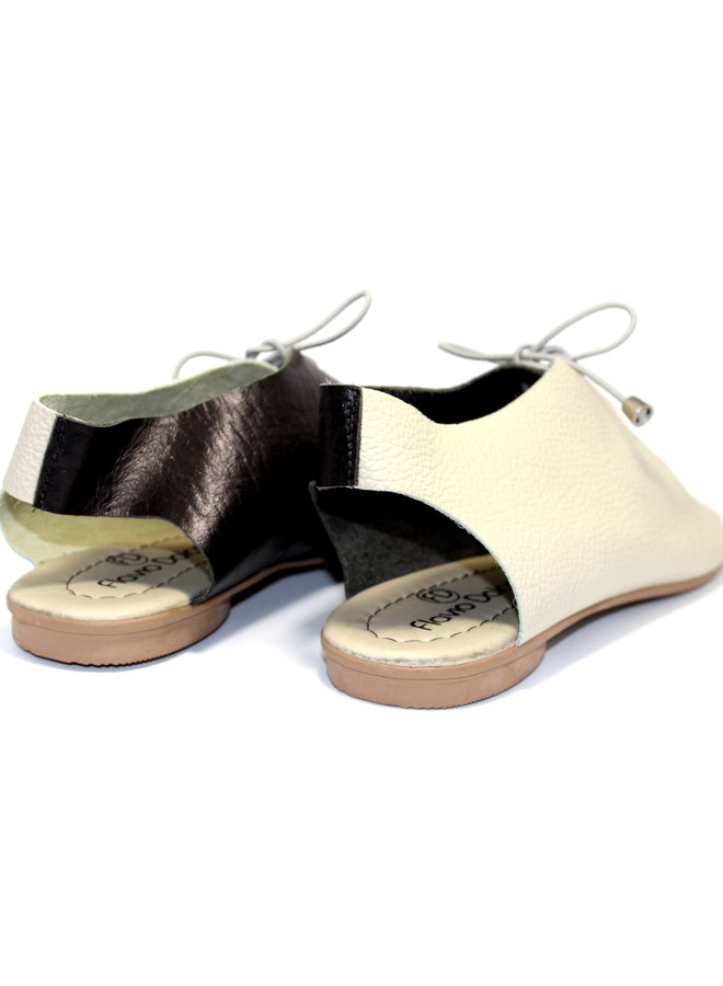 """SANDALS """"SEA"""" SOFT LEATHER  - SAND/BLACK- BRASIL - VOLARE NEW COLLECTION"""