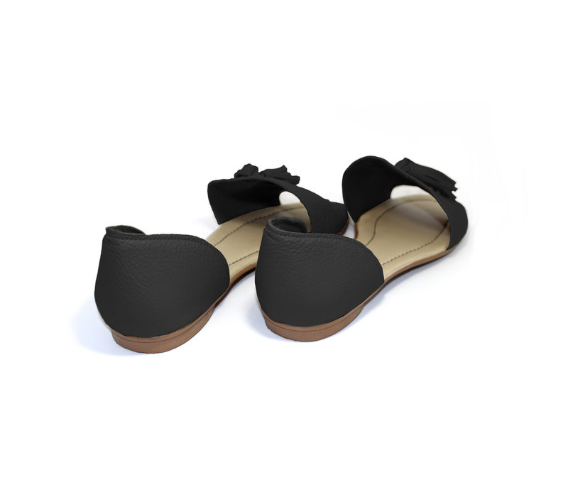 "SANDALS ""SOPHIA"" SOFT LEATHER - BLACK - BRASIL - VOLARE NEW COLLECTION"