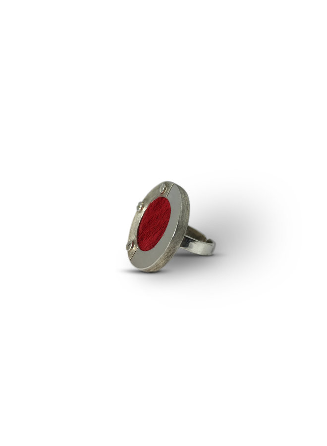 SILVER RING WITH FUR - HANDMADE FROM URUGUAY