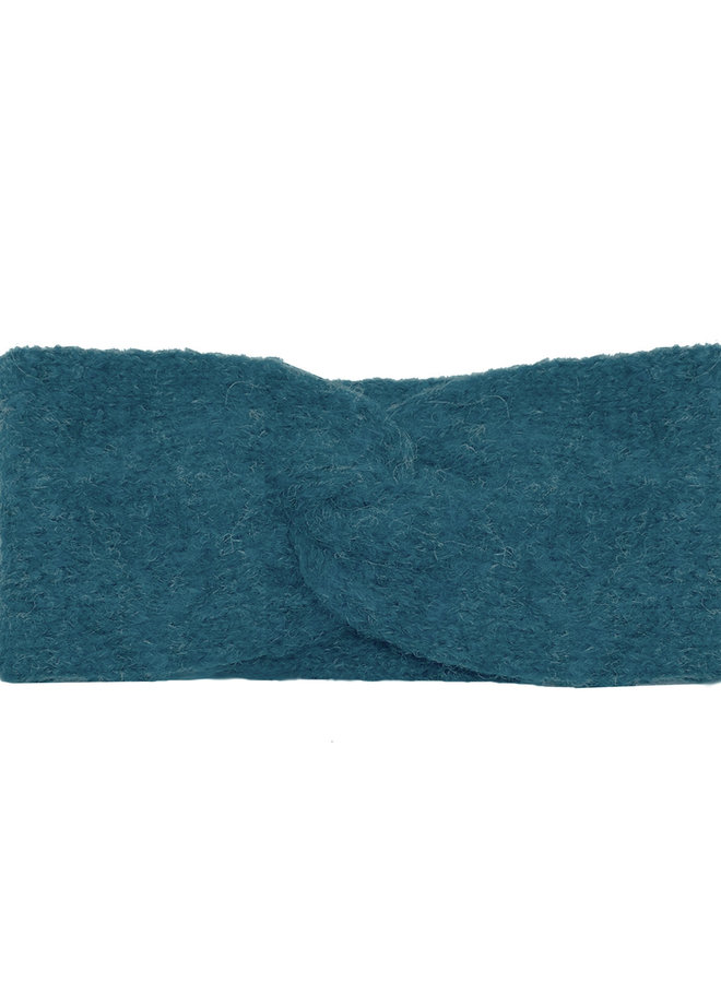HEADBAND LOOP - 100% ALPACA WOOL - PETROL BLUE- HANDMADE