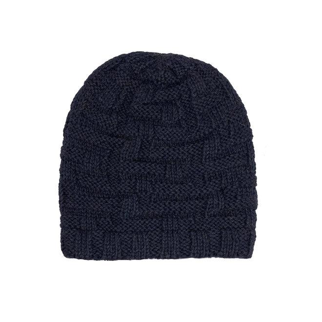 "CAP ""BRICK"" - 100% ALPACA WOOL - NAVY BLUE - HANDMADE"