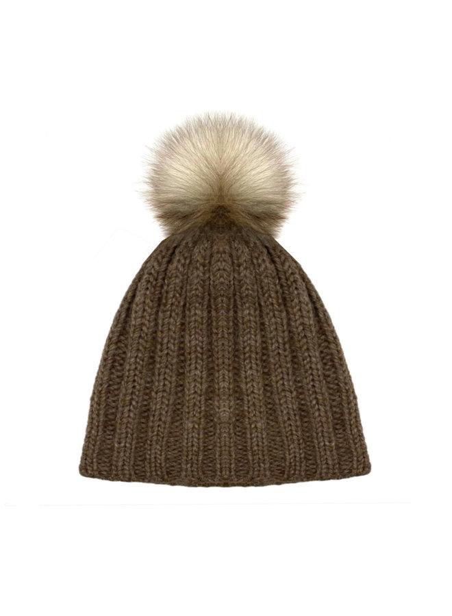 CAP WITH BOBBLE  - 100% ALPACA WOOL - BROWN - HANDMADE