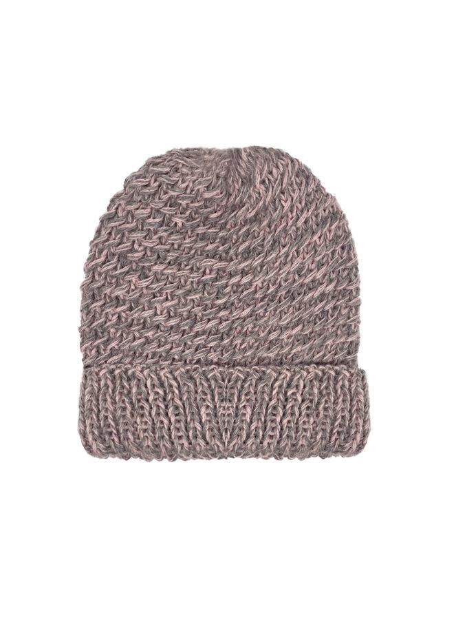 """CAP """"KERU""""  - 100% ALPACA WOOL - ROSE/GREY - HANDMADE"""