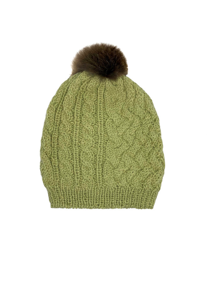 CAP WITH BOBBLE  - 100% ALPACA WOOL - PISTACHIO - HANDMADE