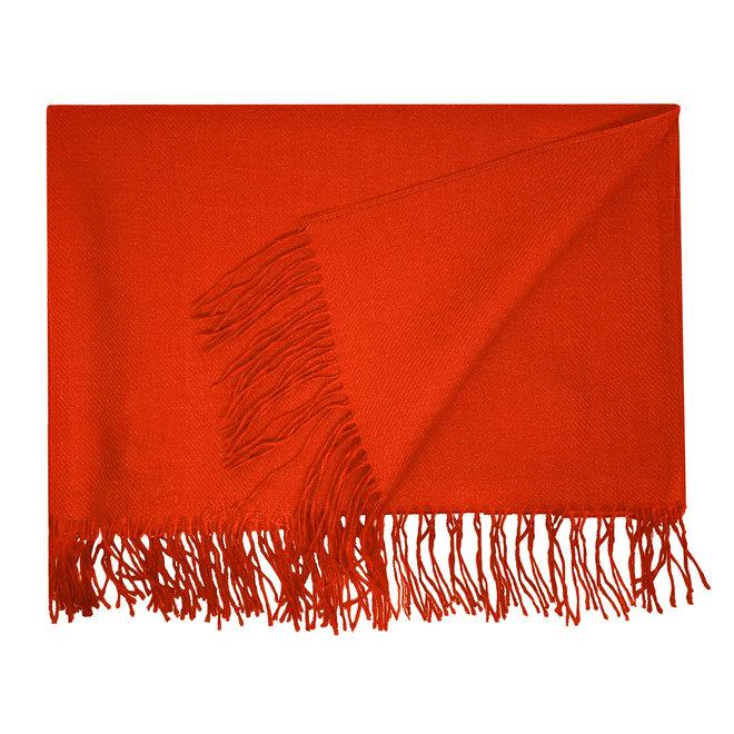 BIG SCHAWL - 100% BABY ALPACA WOOL - CARMINE RED