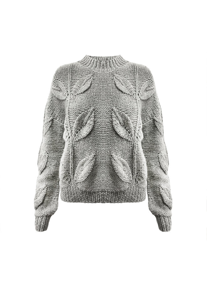 "PULLOVER ""HOJA"" - 100% ALPACA WOOL - LIGHT GREY - HANDGESTRICKT"