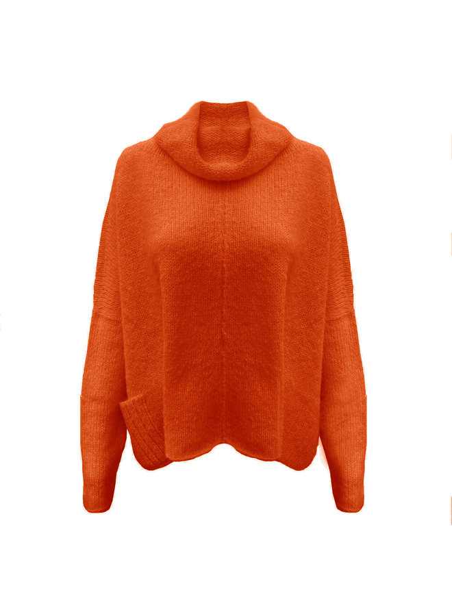 "PULLOVER ""NAOMI"" - 100% ALPACA WOOL - ORANGE - HANDMADE"