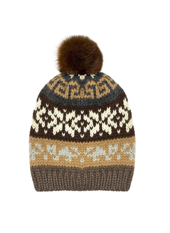CAP WITH BOBBLE  JACQUARD - 100% ALPACA WOOL - BROWN - HANDMADE