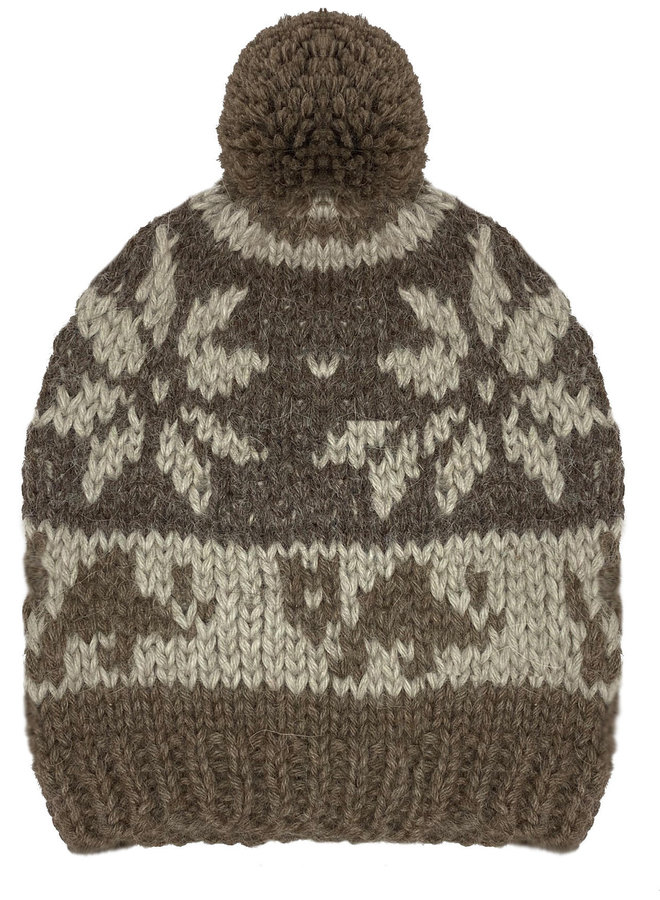 CAP JACQUARD WITH BOBBLE - 100% ALPACA WOOL - BROWN/BEIGE  - HANDMADE