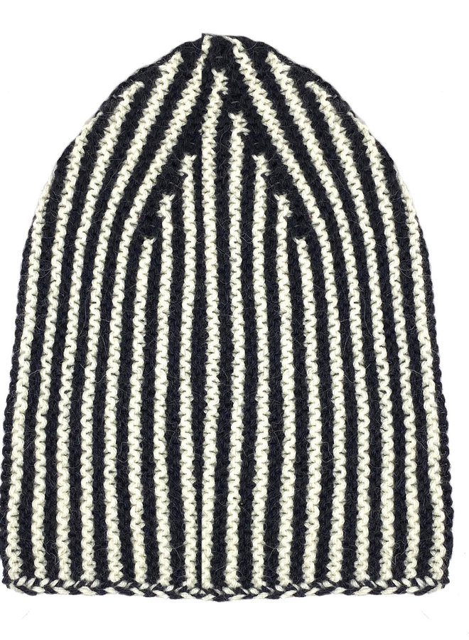 CAP LINES- 100% ALPACA WOOL FINE - BLACK/WHITE