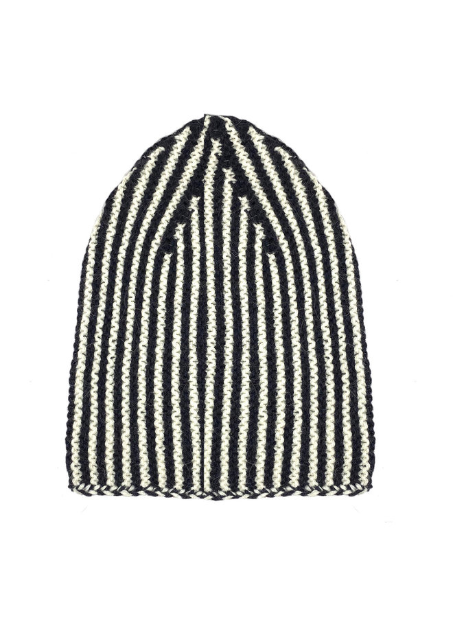 CAP LINES - 100% ALPACA WOOL FINE - BLACK/WHITE