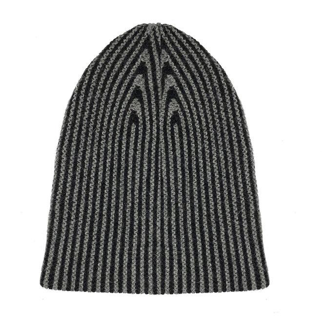 CAP LINES- 100% ALPACA WOOL FINE - BLACK/GREY