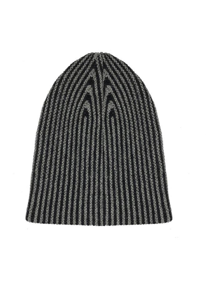 CAP LINES - 100% ALPACA WOOL FINE - BLACK/GREY