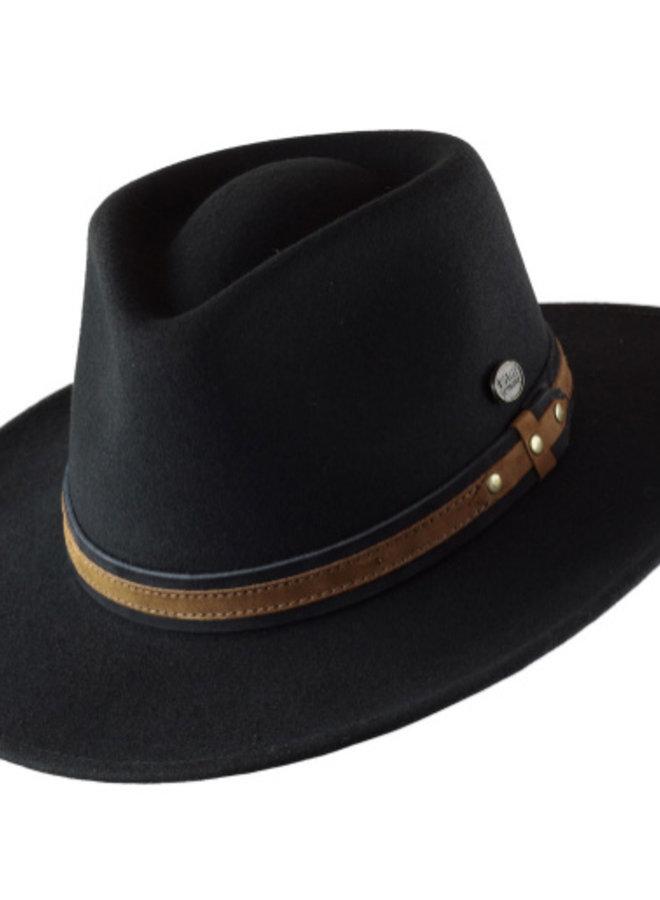 "HAT ""OUTBACK"" FUR FELT ECUADOR - BLACK/BROWN LEATHER"