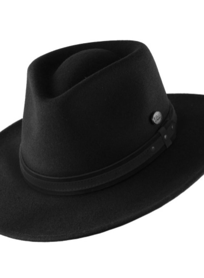 "HAT ""OUTBACK"" FUR FELT ECUADOR - BLACK/BLACK LEATHER"